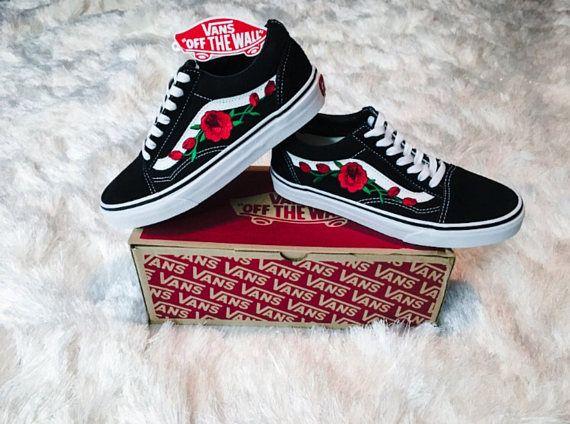 sale retailer b56a5 2db2d Rose Vans Old skool, rose vans women, womens sneakers, rose embroidered  vans, custom vans, canvas vans, unisex vans, rose on vans,