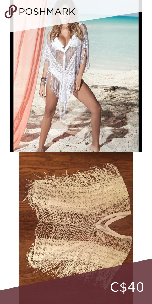 Mapale White Crochet Deep V Plunge Fringe Coverup Perfect combination of comfort, fun and sexy! Excellent Condition! Swim Coverups