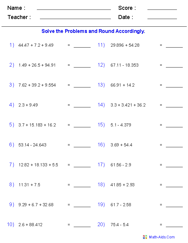 Adding And Subtracting With Significant Digits Worksheets Teaching
