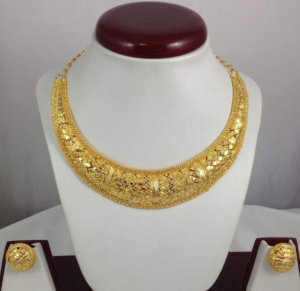 Gold Plated Necklace Earrings Jewelry set 22K Trendy Ethnic ...