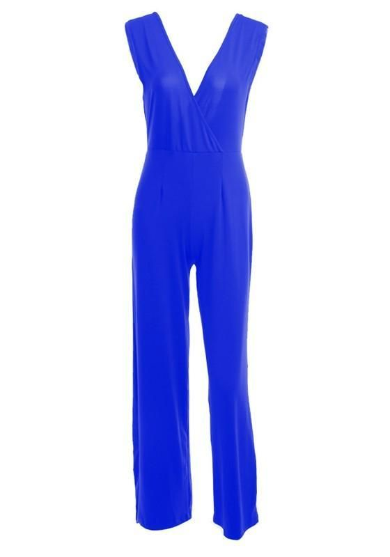 bf7fb3d3c95 Royal Blue Pleated Wide Leg Sleeveless Deep V-neck Clubwear High Waisted  Long Jumpsuit