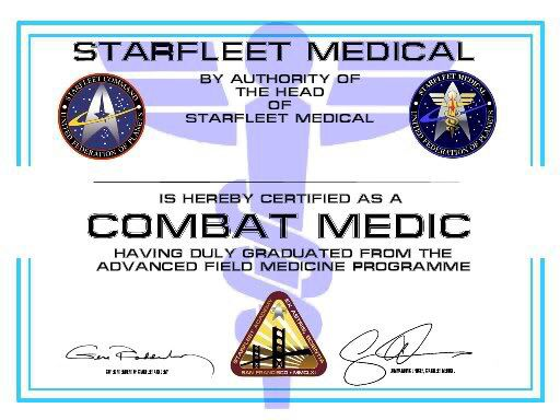 Starfleet Medical Certificate  Star Trek    Star Trek