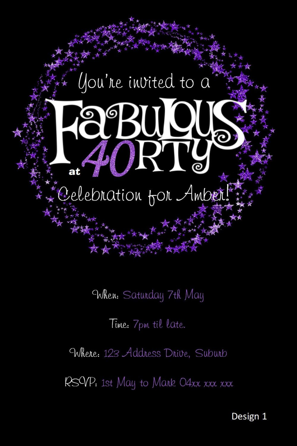 40th birthday invitation purple glitter invitation you print 40th birthday invitation purple glitter invitation you print jpeg file by kleezprints stopboris Image collections