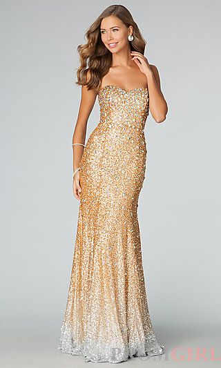 Strapless Gold Sequin Gown JVN by Jovani | Gowns, By and Gold ...