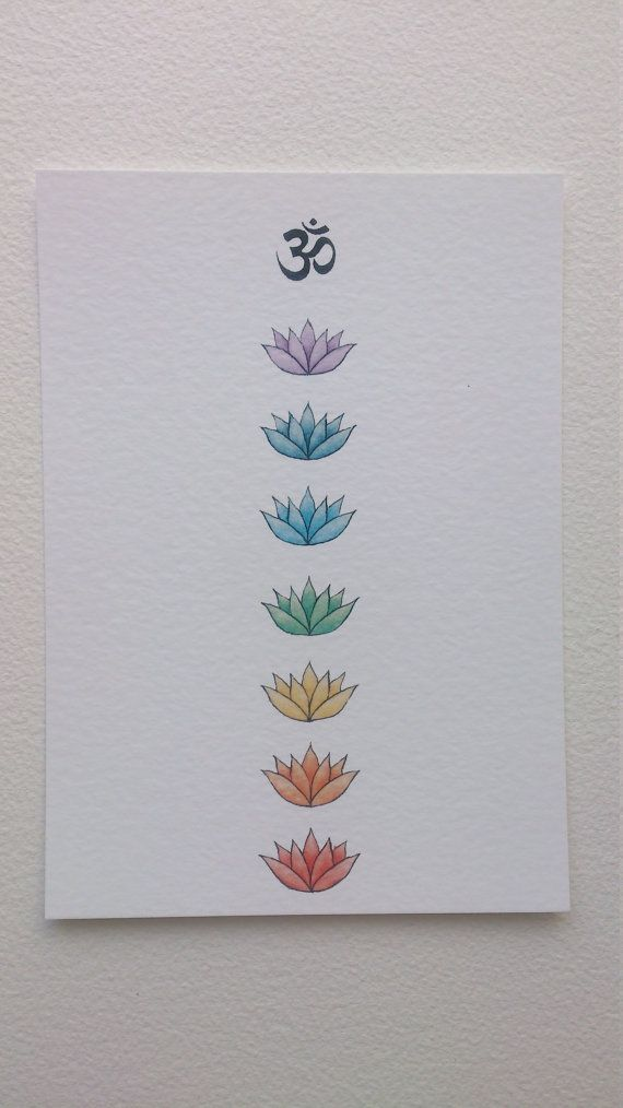 Om And Lotus Chakra Art Print 5x7 Chakra Drawing Chakra Colours