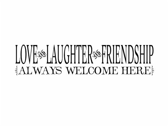 Family Vinyl Wall Decal Love Laughter Friendship Home Wall Quote Saying For  Living Room Family Room Foyer 8Hx36W FS0187