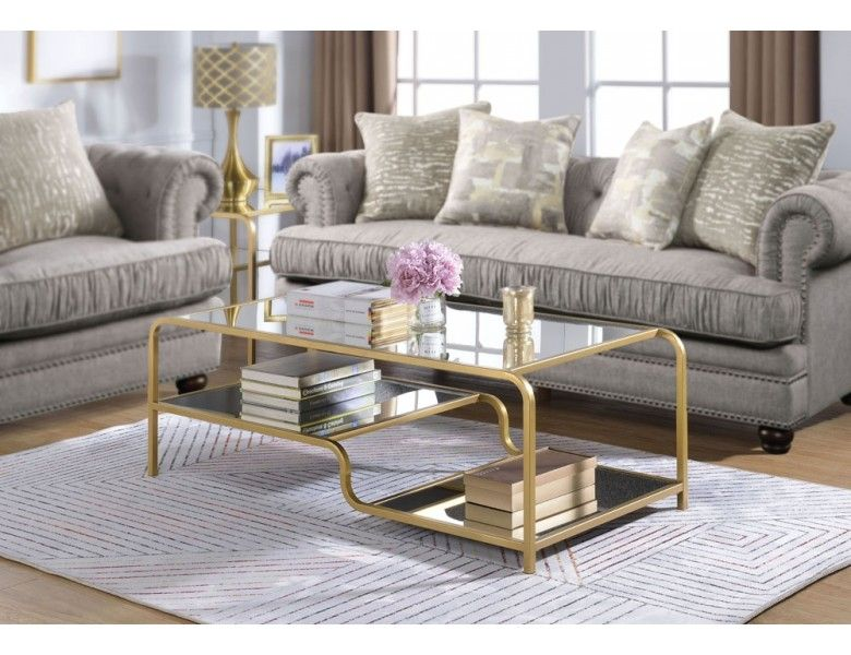 Maze Gold Finish Mirrored Coffee Table Mirrored Coffee Tables Coffee Table Gold Coffee Table