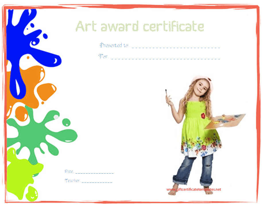 Art Award Certificate Template Award Certificate Templates Award