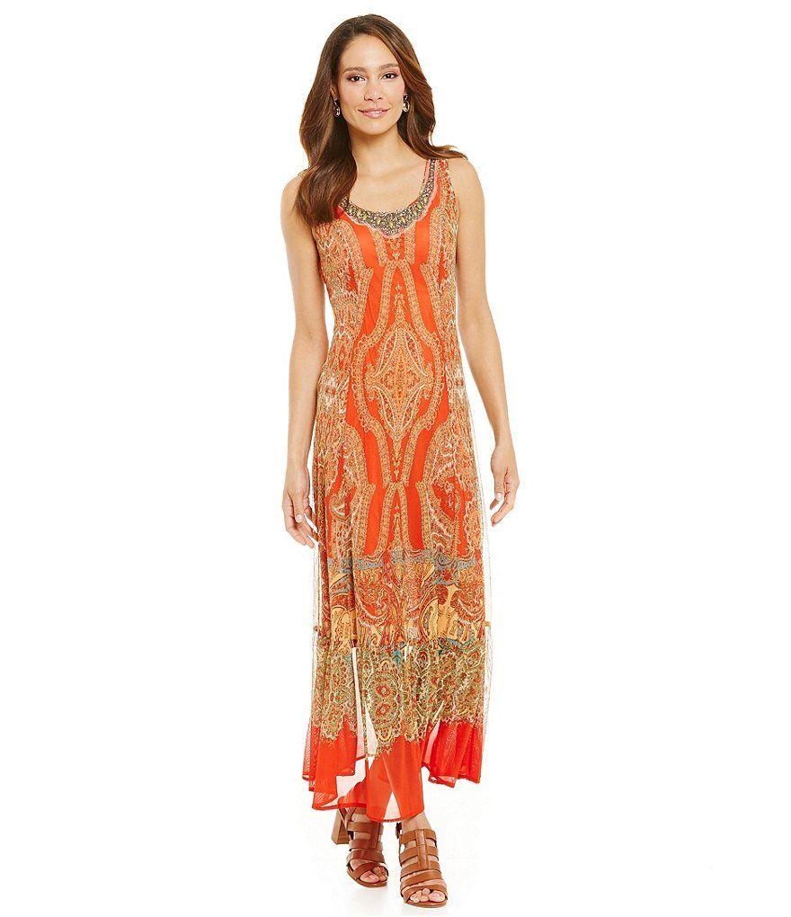 28ca781bacf Reba Sahara Oasis Printed Mesh Sleeveless Maxi Dress