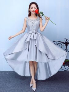 2034002ac75 Silver Prom Dress Satin High Low Homecoming Dress Lace Applique Beading A  Line Graduation Dress With Bow Sash