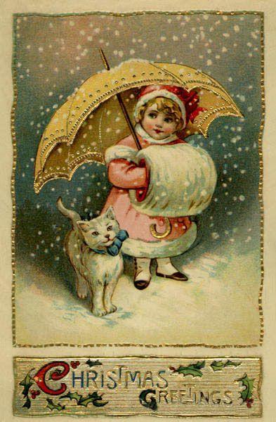Navidad VIII | Postales antiguas en WordPress.com | Postal navideña  vintage, Arte de navidad, Gatos navidad