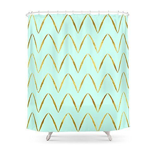 Society6 Mint Gold Foil 05 Shower Curtain 71 By 74 Read More Reviews