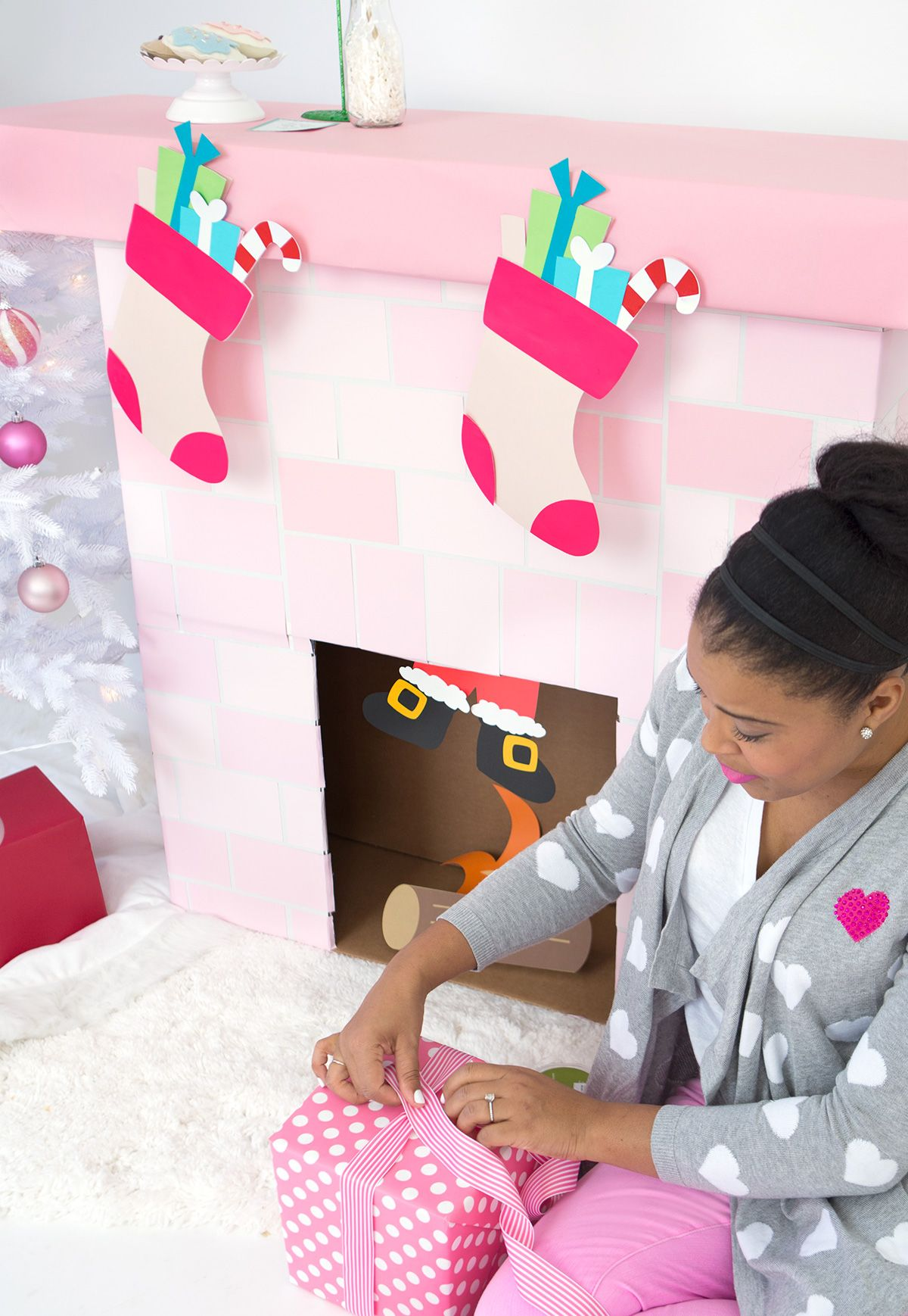 DIY Cardboard Box Fireplace HOLIDAYS Christmas Pinterest Diy