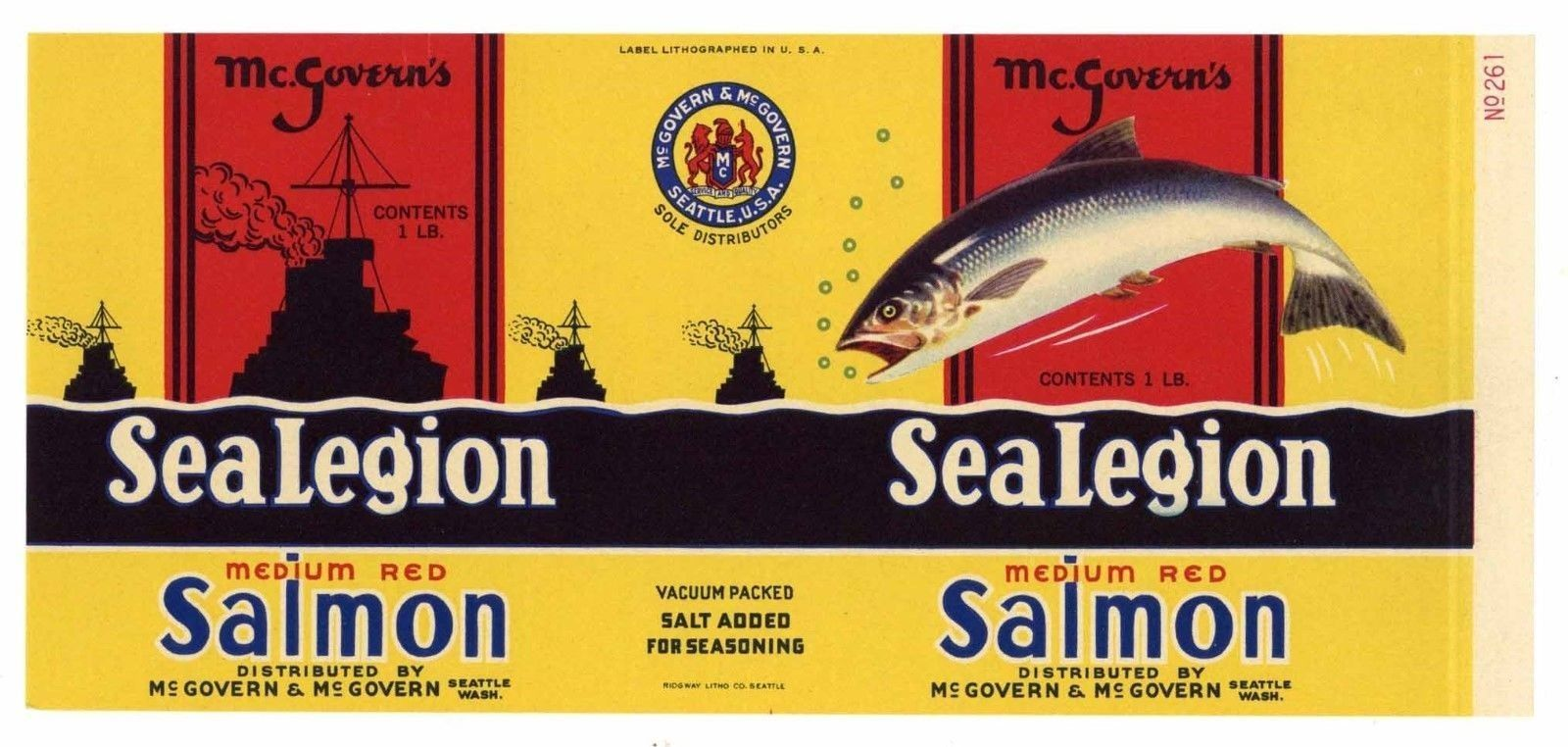 Seatte WASH. Wholesale Lot of 100 Old Vintage PINK BEAUTY SALMON Can LABELS