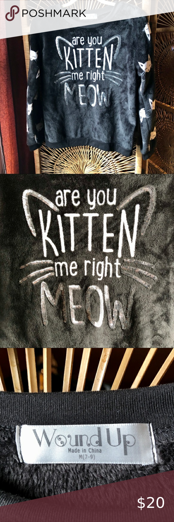 Wound Up Are You Kitten Me Cat Sweatshirt Sequins In 2020 Cat Sweatshirt Cat Sweaters Sweatshirts