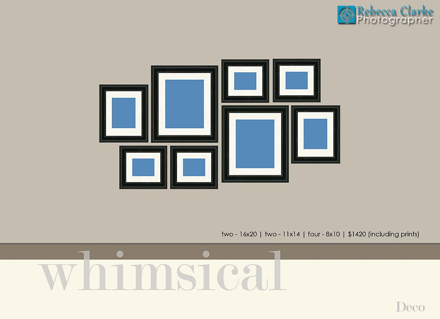 display design guide photo wall arrangements with frame sizes listed