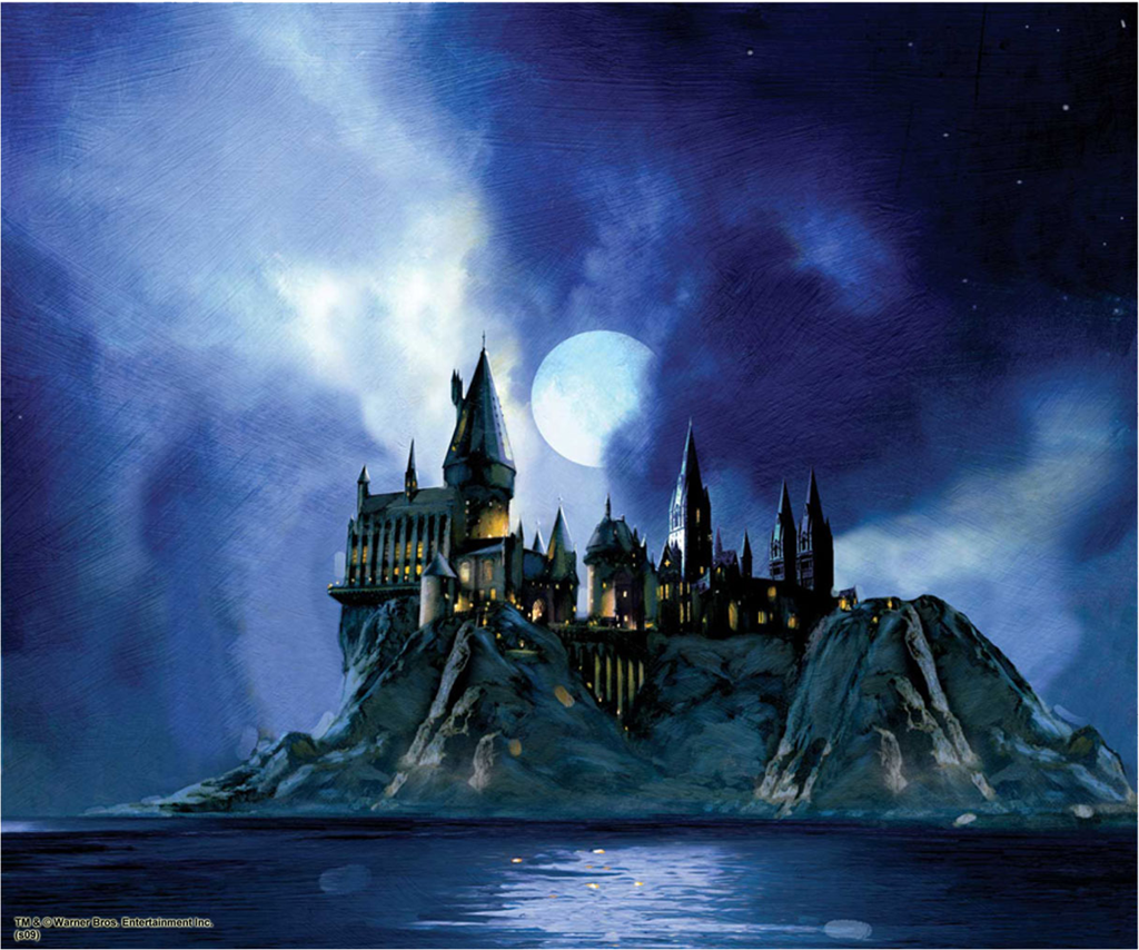 Hogwarts castle night scene from the black lake painting - Hogwarts at night wallpaper ...