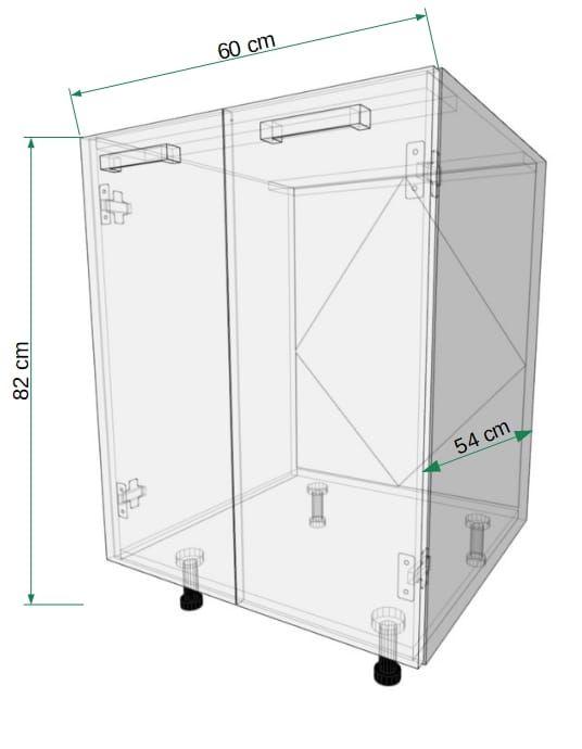 GLOSS Standing two-door cupboard, sink 60cm