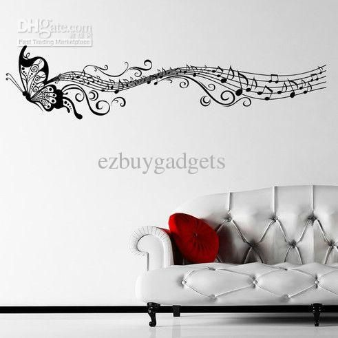 Butterfly Music Note Wall Decals DIY Art Vinyl Wall Sticker Home ...