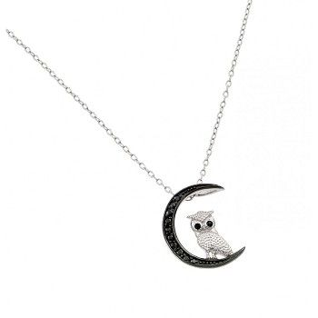 925 Sterling Silver Owl and Moon Necklace