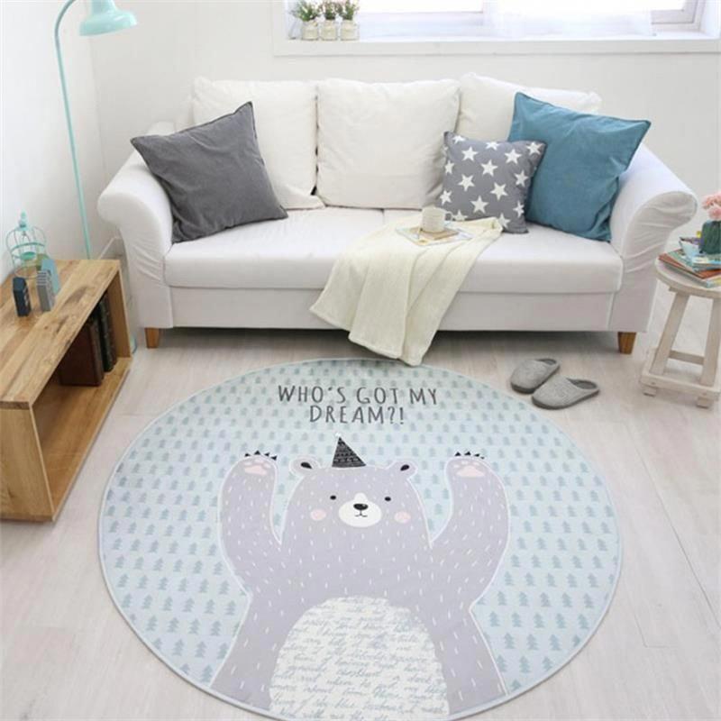 Cartoon Animal Round Area Rug For Living Room Children Bedroom