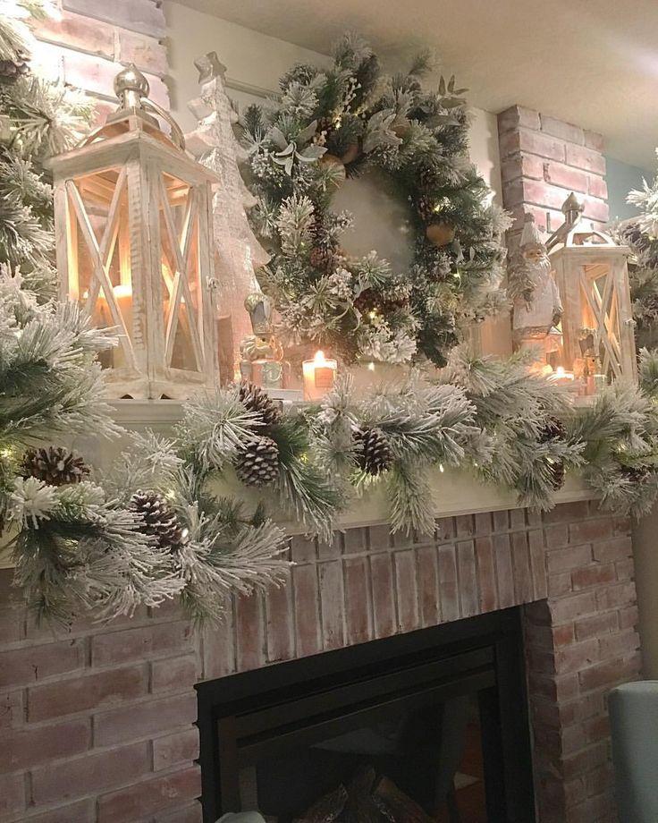 (62) Pinterest Christmas mantel decorations, Christmas