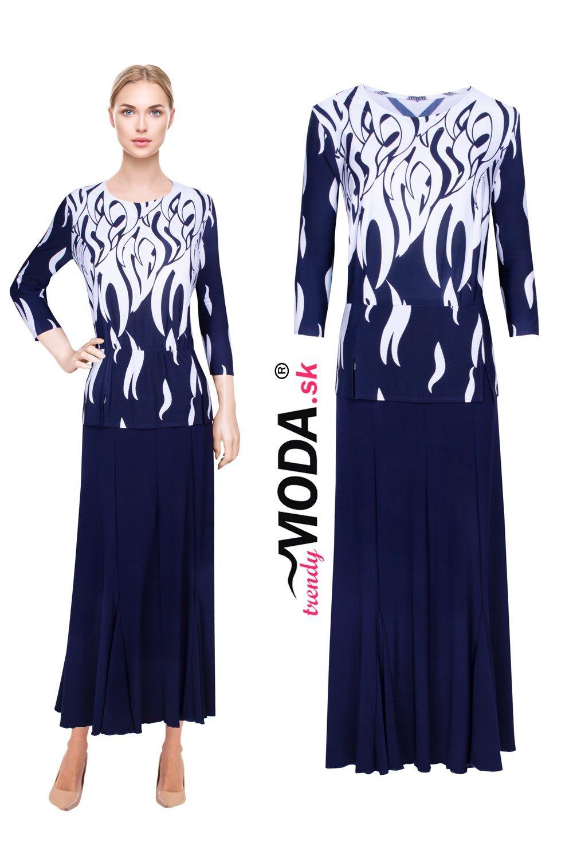 fabffbda5318 Elegantné dlhé modro-biele úpletové dámske šaty s efektnou potlačou ...