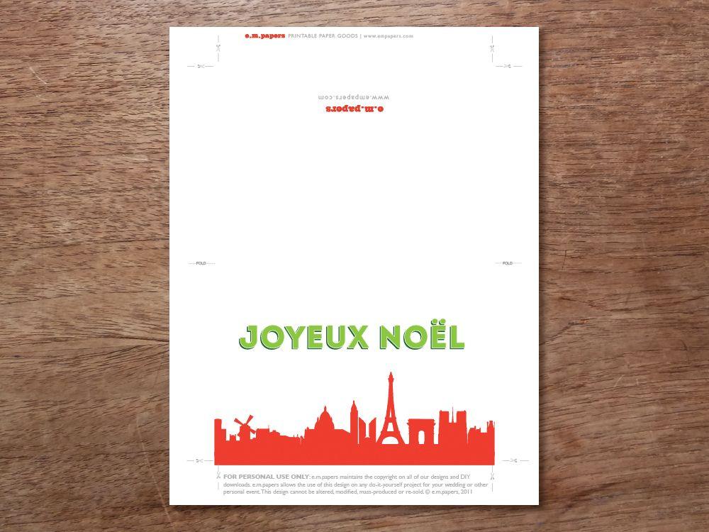 Printable Christmas Card - Christmas Card Download - Paris Christmas ...