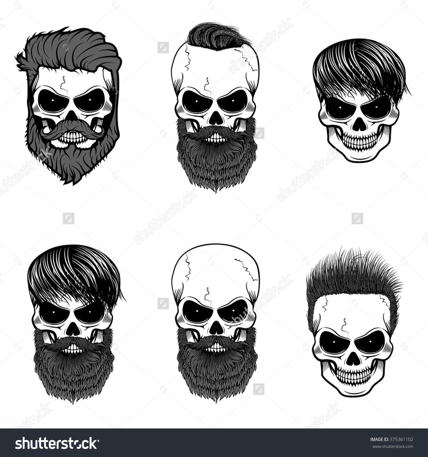 Shirt design elements - Set Of Bearded Skulls Skulls With Beard And Hair Vector Design Elements For Label