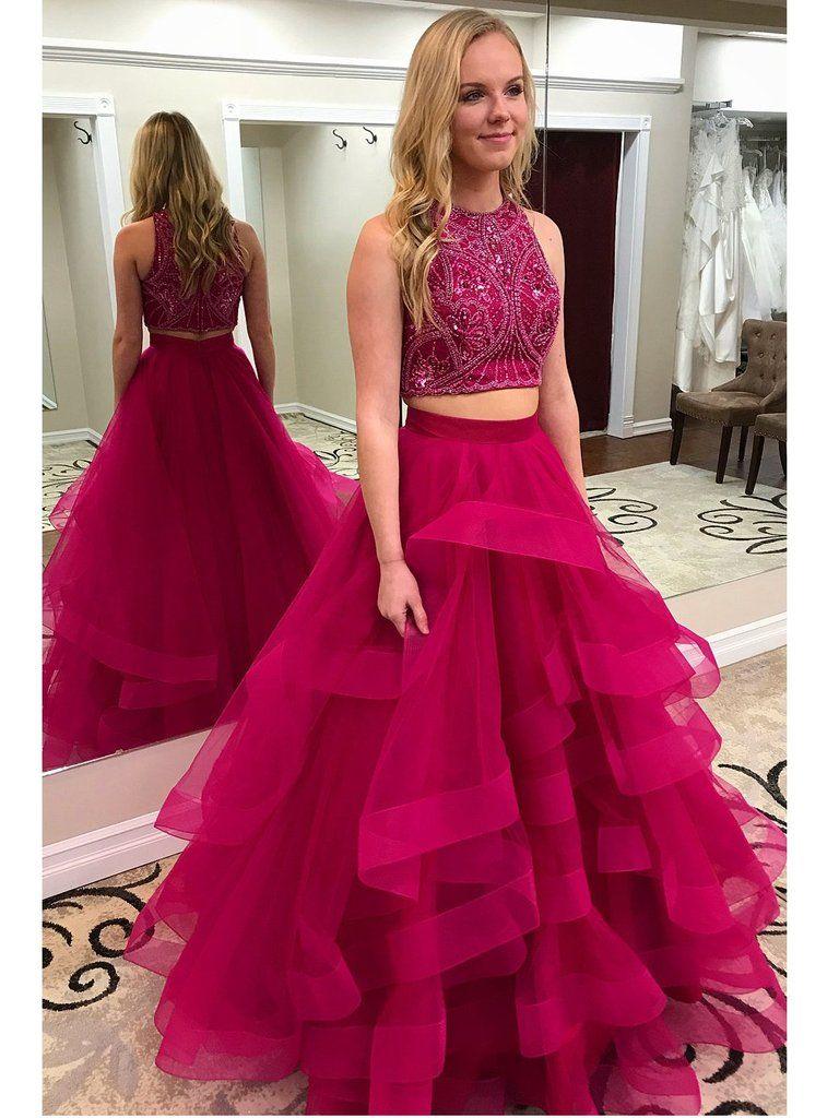 Semi formal dresses for wedding reception  Two Piece Beaded Top Long Prom Dress Semi Formal Dresses Wedding