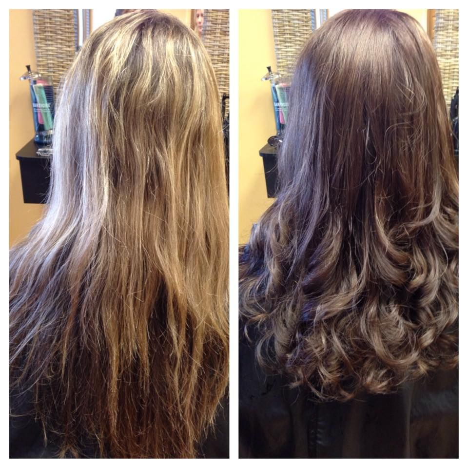Before And After Picture From Washed Out Blonde To Beautiful Healthy Chocolate Brown Long Hair Styles New Hair Hair Makeup