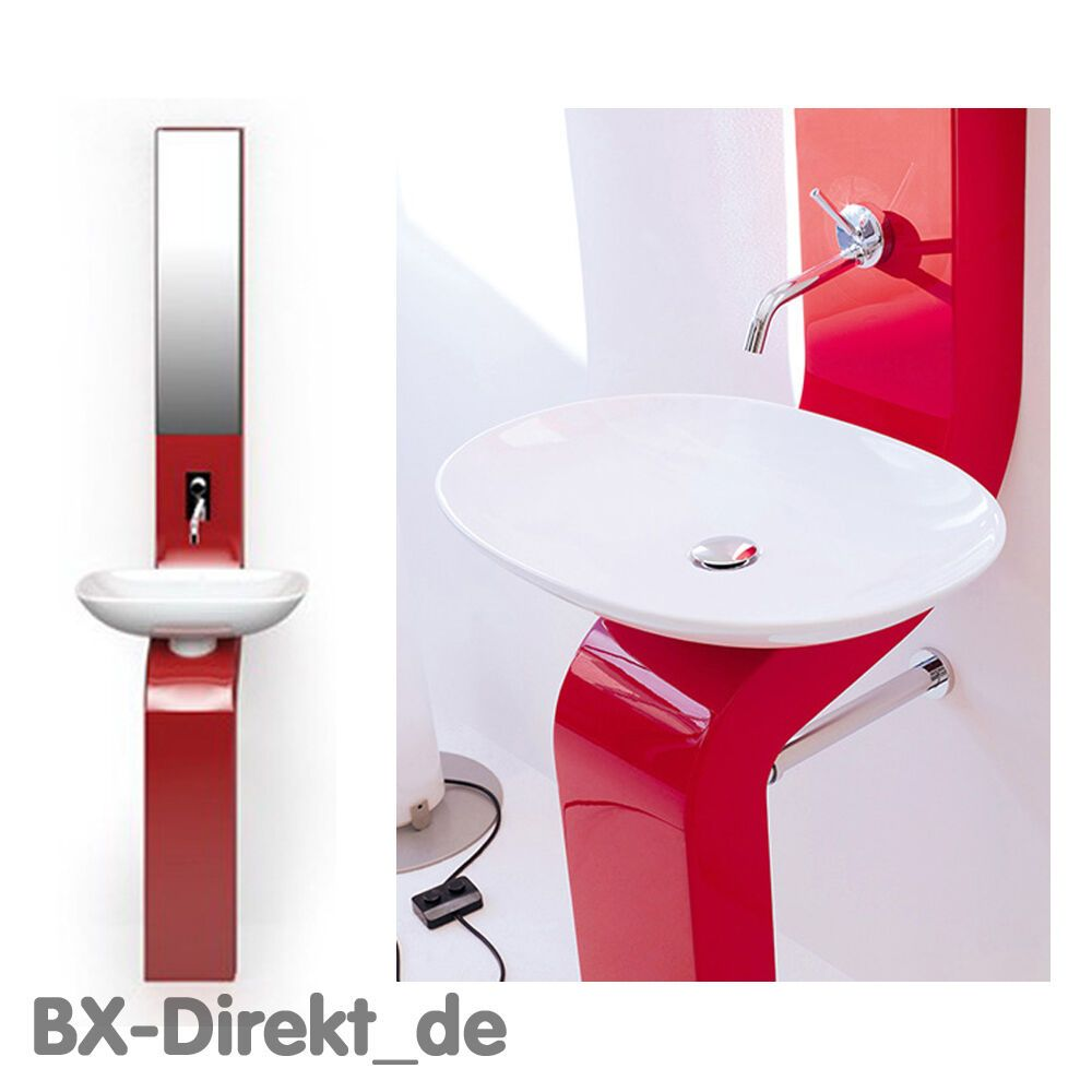 Designerstuck Waschsaule Lafontana Rot Waschbecken Waschtisch Mit
