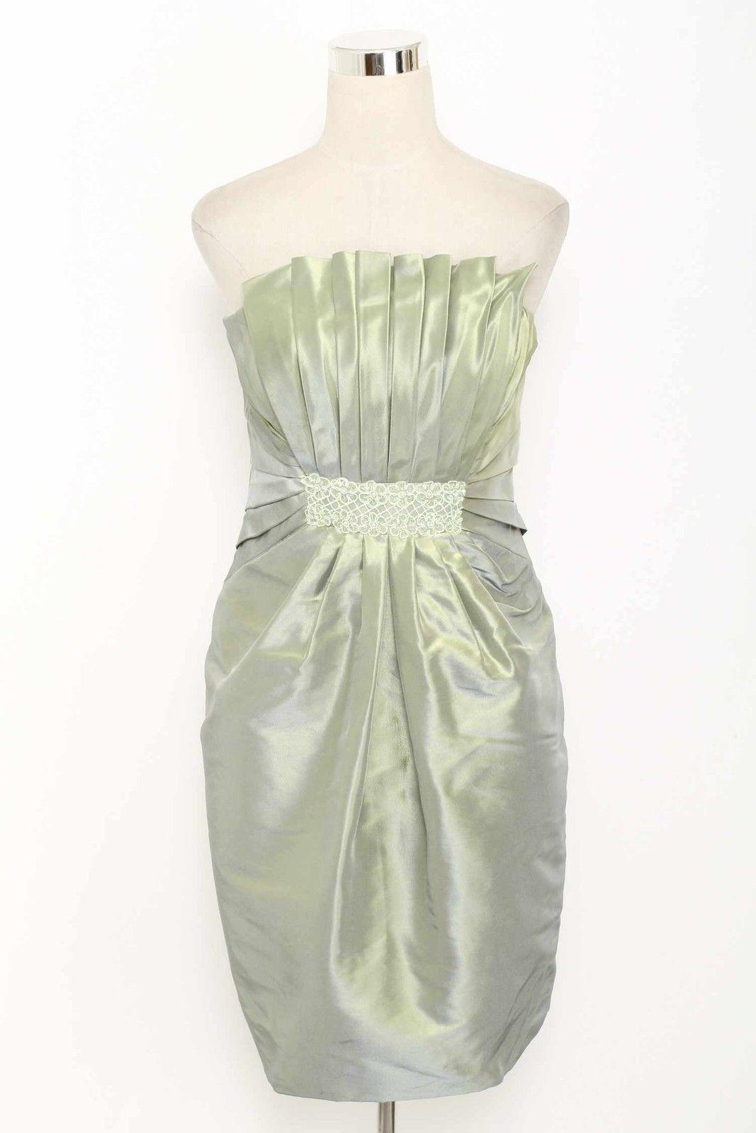 Badgley Mischka Iridescent Green Taffeta Pleated Dress Size 12 1511 T1115