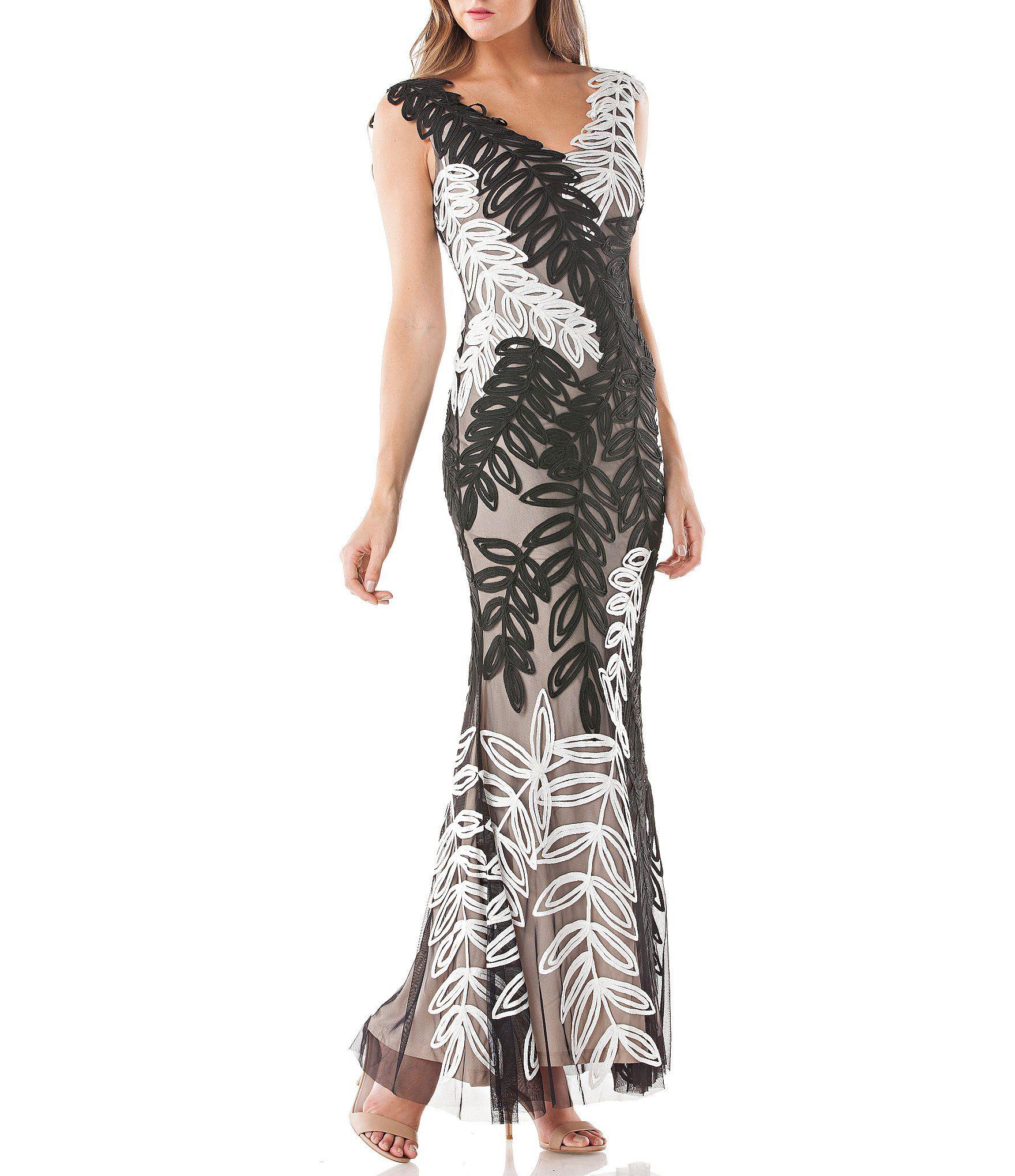 Js collections vneck soutache gown in mob dress pinterest