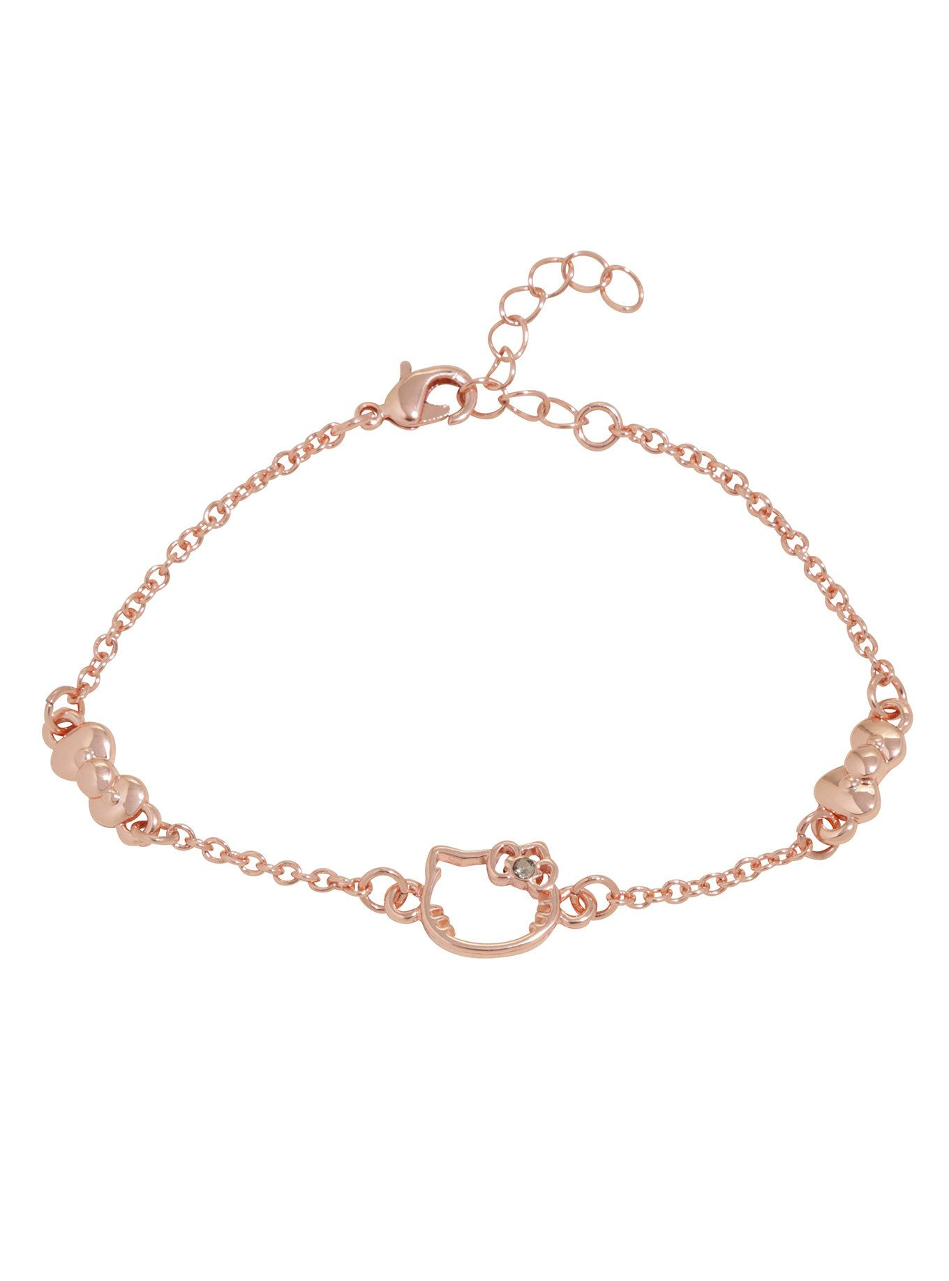 Hello Kitty Rose Gold Dainty Silhouette Bow Bracelet