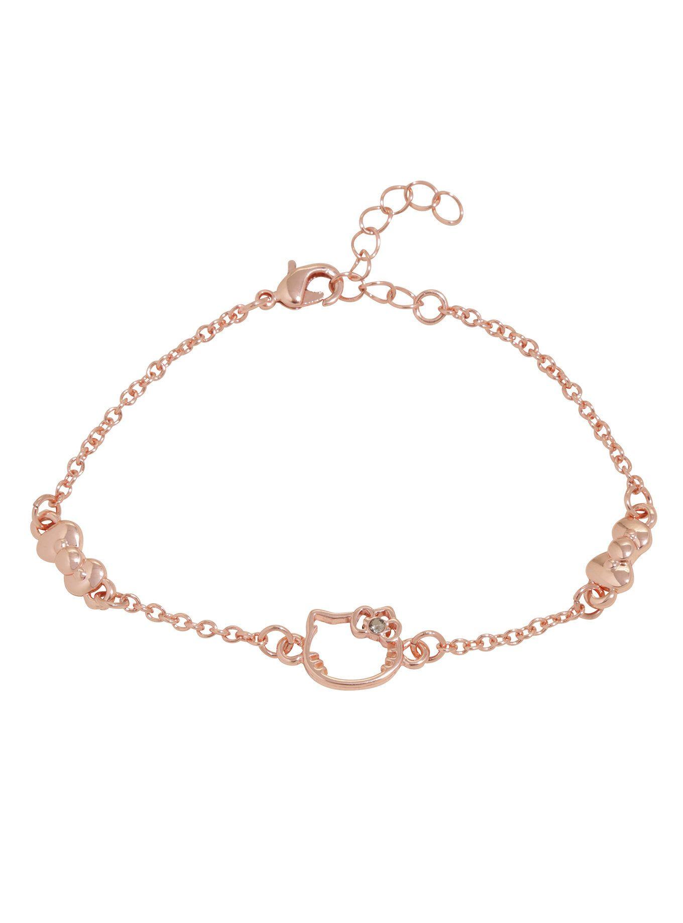 Hello Kitty Rose Gold Dainty Silhouette Bow Bracelet