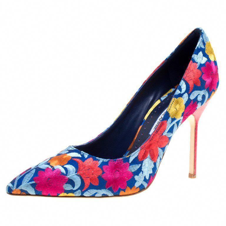 Manolo Blahnik Multicolor Floral Fabric