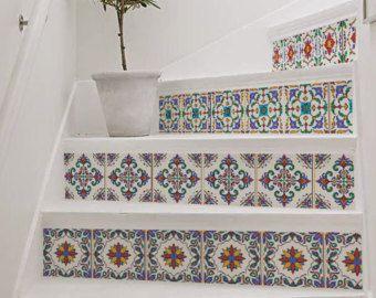 10 Step Stair Riser Decal, Bright Colorful Decorative Tiles Stair Sticker,  Removable Stair Riser Decor Strip, Peel U0026 Stick Stair Riser #26R