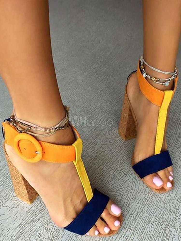 95a7c064b015 High Heel Sandals Corduroy Women s Multicolor Open Toe T Type Ankle Strap  Sandal Shoes