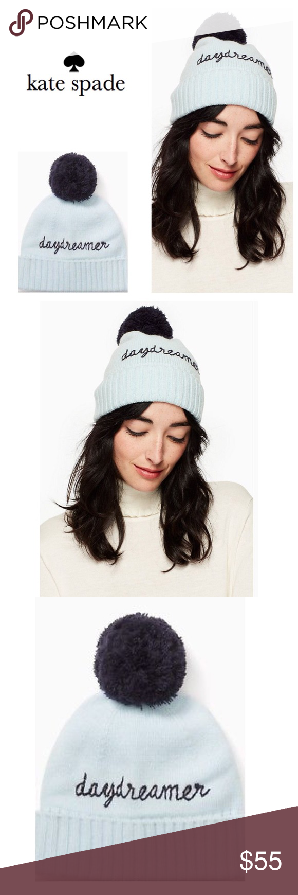 51b3eaae9af67 Kate Spade Daydreamer Pom Pom Beanie A charming Kate Spade New York ice  blue beanie with stitched  Daydreamer  lettering and a contrast navy pom pom.  kate ...