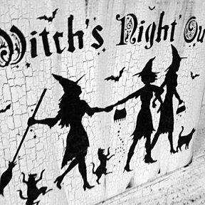 """Halloween Decor Pretty Witch Sign """"Witch's Night Out"""" funny halloween sign, good witch, halloween party decoration, witches, black cats by BrightBeginningDeSigns on Opensky"""