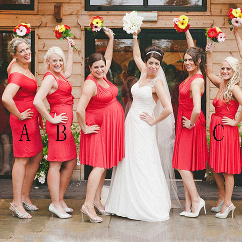 Find a elegant short red bridesmaid dresses v neck pleat knee
