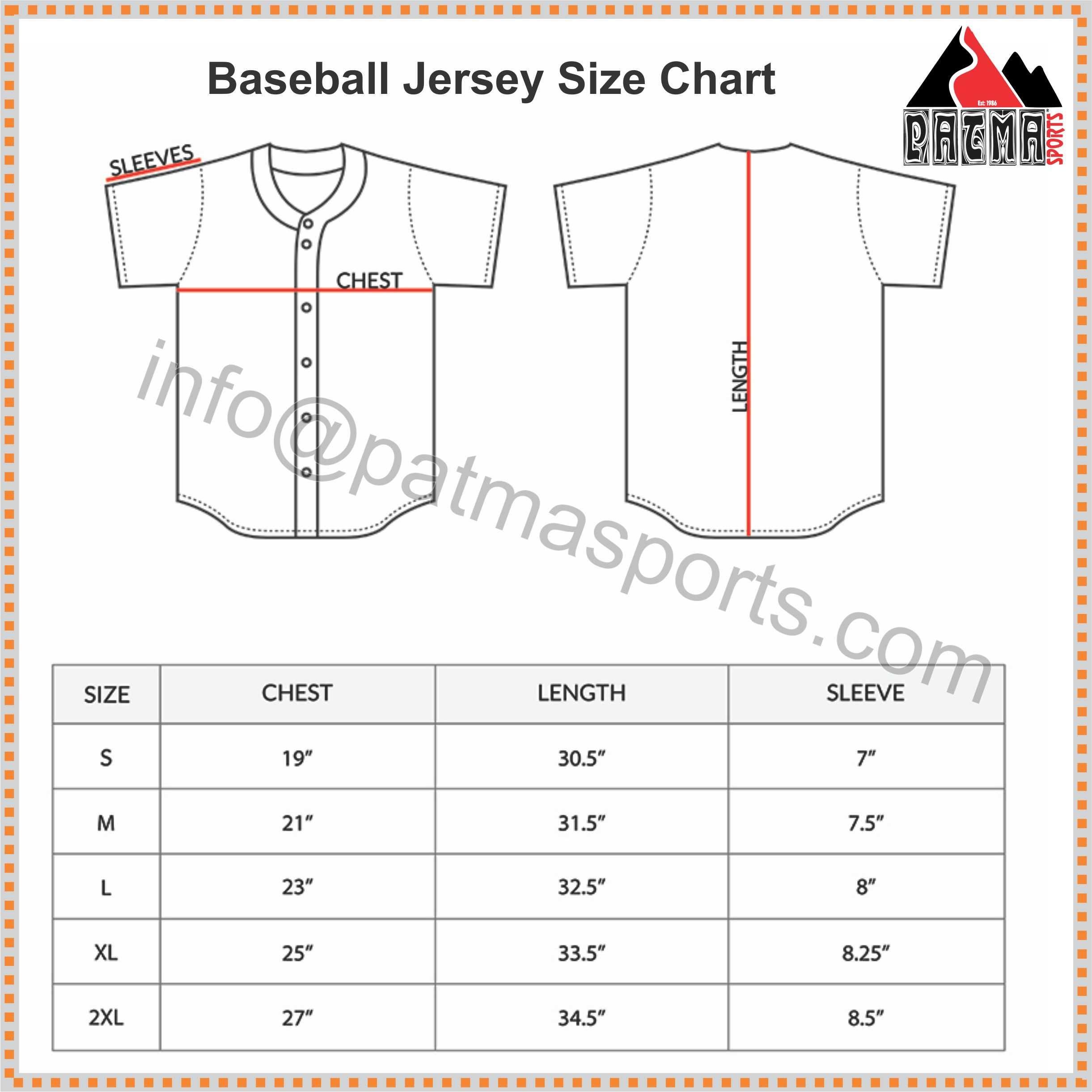 Baseball jersey size chart size chart pinterest baseball jerseys