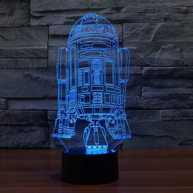 Star Wars R2D2 Robot Hologram 3D Light Table Desk LED Lamp 7 Color Changing  Engraving Night
