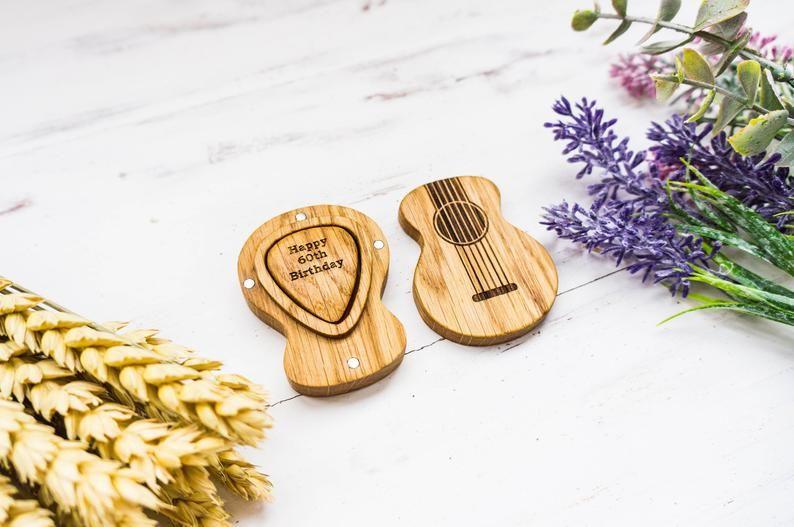 Custom guitar pick box personalized wooden guitar pick