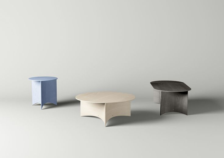 Tables With Bent Plywood Bases by Mario Tsai is part of Plywood furniture Bend - Plywood is not often a first choice when it comes to designer furniture, but Mario Tsai designed the Press Tables based on how easily it can bend