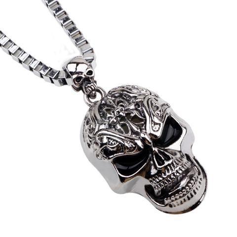 Collier Tête de Mort Crane Bijoux Pendentif Horn Bone Skull