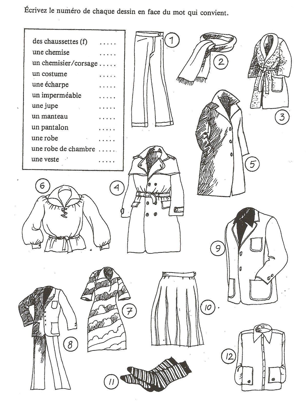 Exercice Les vêtements (Ecrire le num