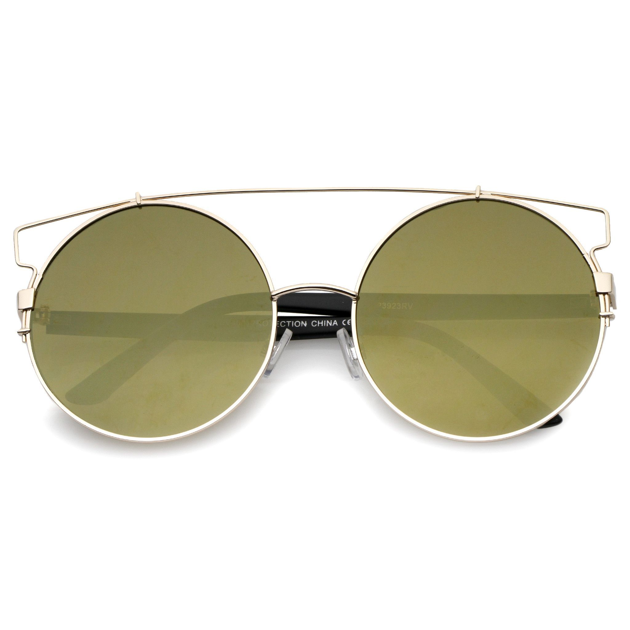 Modern Oversize Round Flat Lens Wire Frame Sunglasses A542 ...