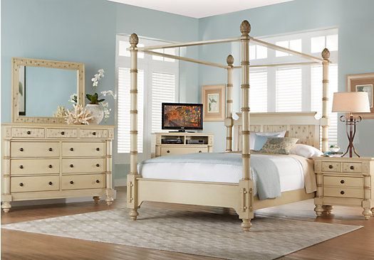 Key Royale Cream 7 Pc King Canopy Bedroom | Canopy bedroom, King ...
